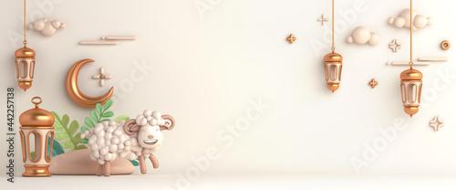 Fotografie, Obraz Eid al adha islamic decoration background with goat sheep arabic lantern crescent, ramadan kareem, mawlid, iftar, isra  miraj, eid al fitr, muharram, wide copy space text area, 3D illustration