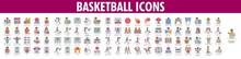 Basketball Icons. Vector Set Of Basketball Icons.