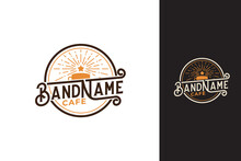 Morning Cafe Logo Vector Graphics With A Cup Of Coffee And Rising Star For Any Business, Especially For Cafe, Coffee Shop, Restaurant, Etc.