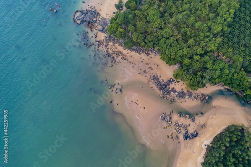 Natural Waterway and jungle mangroves blue and green water uav drone aerial high Fototapeta