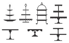 Set Of Cake Stands In Flat Icon Style. Empty Trays For Fruit And Desserts. Vector Illustration.