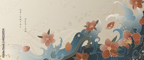 Vászonkép Luxury gold oriental style background vector