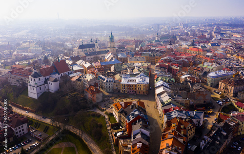 Leinwand Poster View from drone of historic center of Lublin with Old Church Square and Dominica