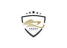 Yacht, Boat Logo Designs Template. Line Art Logo Of Yacht