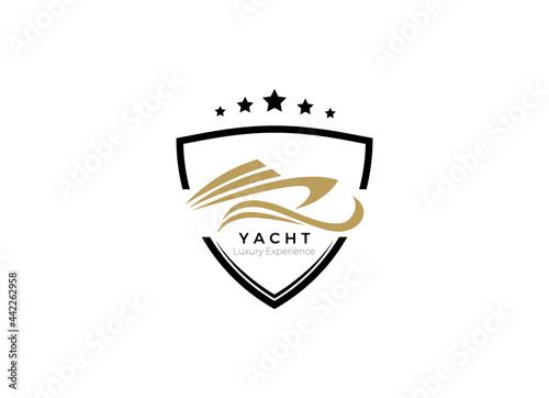 Foto Yacht, Boat Logo Designs Template. Line art logo of Yacht