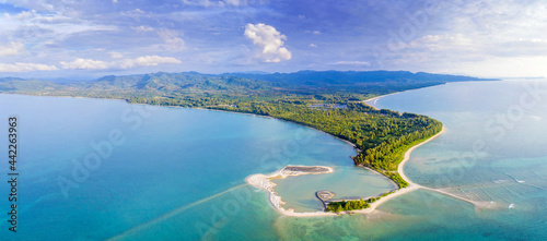 Fotografiet Aerial View of Pak Weep Beach and Coconut Beach of Khao Lak, Thailand