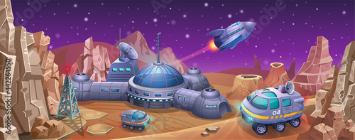 Canvas Space colony with rovers on the planet Mars