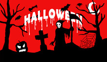 Halloween Background Vector Hand Drawing Style