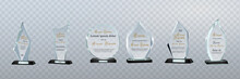Glass Trophy Awards Template. Vector Prize Isolated On Transparent Background.