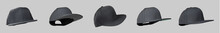 Black Snapback Cap With Fly Or Ghost Mannequin Concept, Isolated On Grey Background