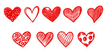 Set Of Doodle Hearts Isolated On White Background. Hand Drawn Of Icon Love.vector Illustration.