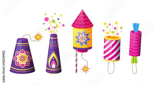 Obraz na plátne Set of petards, cracker and fireworks
