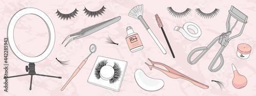 Obraz na plátně Set of hand drawn eyelash extension tools isolated on background