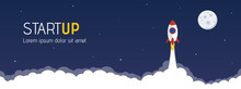 Startup Website Header With Launching Rocket