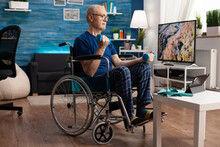 Invalid Pensioner In Wheelchair Training Body Muscles Persistence Using Gym Dumbbells Recovery After Paralysis. Focused Disability Senior Man Watching Workout Video Exercise On Tablet In Living Room
