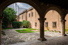Courtyard Of The Medieval South American  Fortification Of T With An Arcade And A Fountain