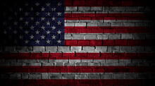 USA Flag Painted On Brick Wall. 4th Of July Background In Grunge Style
