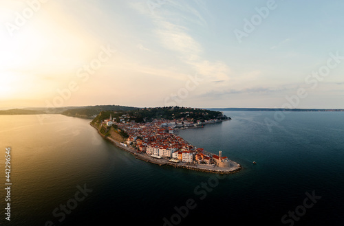 Tela Panoramic photo about piran's old town in Slovenia Amazing morning lights in this peninsula with the Zvonik Campanile Bell Tower what is the landmark this town