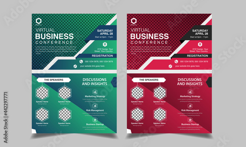 Fotografia Business conference flyer and poster design vector template
