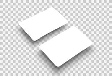 Mockup Realistic Business Card Hanging In The Air With Rounded Corners, Isolated On Transparent Background. Vector Illustration EPS 10