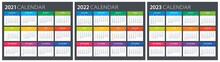 2021, 2022, 2023 Calendar - Illustration. Template. Mock Up