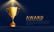 Golden Metallic Trophy Cup First Place Winner Award