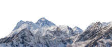 Mountains With Snow Isolated On White Background