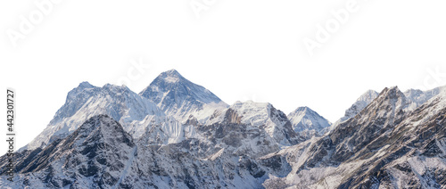 Fotografia, Obraz Mountains with snow isolated on white background