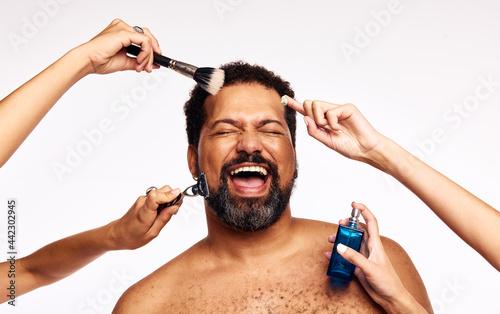 Fotografie, Obraz Happy bearded man having facial grooming