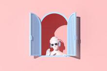 Minimal Scene Of Women Sculpture In Blue Window On Pink Wall Background, Minimal Concept, 3d Rendering.