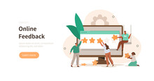 People сharacter пiving Five Star Feedback. Clients Choosing Satisfaction Rating. Customer Service And User Experience Concept. Flat Cartoon Vector Illustration.