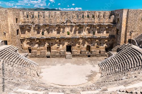 Canvas Roman amphitheater of Aspendos, Belkiz - Antalya, Turkey.