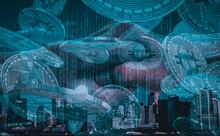 Grafika Kryptowaluty, Bitcoin, Miasto I Blockchain.