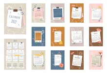 2022 Calendar. Cover, Set Of 12 Months Pages And Page With 2023 Calendar. Pieces Of Papers, Photo Frames, Colorful Flowers, Flowers Contours In Flat Style. Week Starts On Sunday. Vector Illustration.
