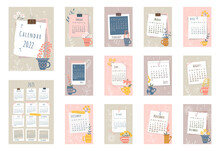 2022 Calendar. Cover, Set Of 12 Months Pages And Page With 2023 Calendar. Pieces Of Papers, Photo Frames, Tea Mugs With Flowers In Flat Style. Week Starts On Sunday. Vector Illustration.