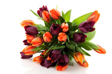Cheerful Bouquet With Mixed Colored Tulips In Orange And Dark Red