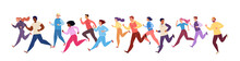 Jogging Athletes. Running Men And Women In Winter Tracksuits. Sports Competitions, Training, Athletics. Marathon Race, 5k Run, Sprint. Healthy Active Lifestyle. Vector Illustration.