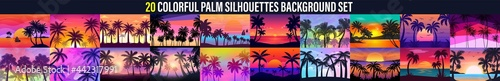 Fotografie, Obraz Colorful tropic sunset view to palm trees forest silhouettes with calm ocean water reflection