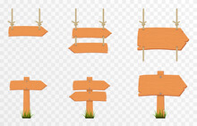 Set Of Cartoon Wooden Pointers, Plates. Wooden Pointers, Plaques On An Isolated Transparent Background. PNG.