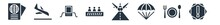 Airport Terminal Filled Icons. Glyph Vector Icons Such As Danger Sing, Clutery For Lunch, Parachute Open, Landing Runway, Escalator With Right Arrow, Airport X Ray Machine, Plane Landing Sign