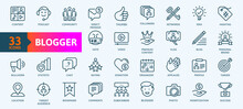 Blogger, Blogging, Blog -  Thin Line Web Icon Set. Outline Icons Collection. Simple Vector Illustration.