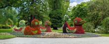 Flower Ducks In The German Botanical Garden On The Flower Island Insel Mainau
