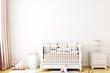 blank wall nursery mockup boho, 3d rendering