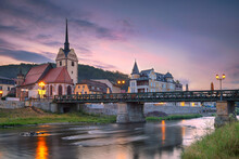 Gera, Germany. Cityscape Image Of Old Town Gera, Thuringia, Germany With St. Mary's Church And Untermhaus Bridge Over White Elster River At Sunset.