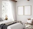 Leinwandbild Motiv Mockup frame in luxury Hampton style bedroom interior, 3d render