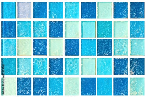 Blue pastel ceramic wall and floor tiles abstract background Fototapet