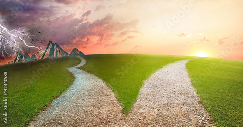Fotografia, Obraz fork in the road choice concept