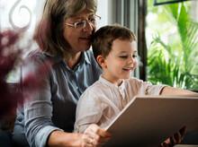 Grandmother Grandson Family Reading Leisure