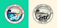 Sea Wave Emblem. Surfing Sign. Summer Surf. Blue Water. Vintage Tide. Engraved Emblem Hand Drawn. Retro Poster Or Banner