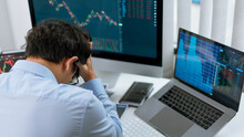Financial Concept An Amateur Trader Failed Of The Investment Losing His Fund Due To A Wrong Decision.